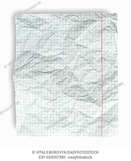 Rumpled page from school notebook into the cell isolated on white background
