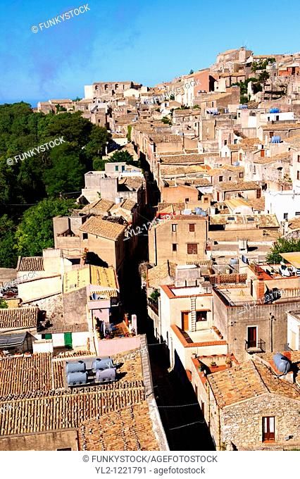 Roof top view of Erice, Sicily