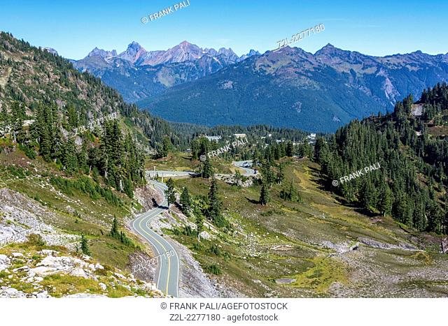 Road to Artist Point (5,140 feet). Mount Baker-Snoqualmie National Forest. Washington, USA,