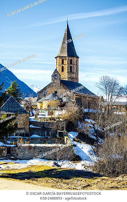 Romanesque church of Sant Andreu, Salardú, Vall d'Aran, Lleida, Catalonia, Spain