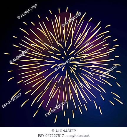 Firework bursting sparkle background. Isolated gold colorful night fire, beautiful explosion celebration, holiday, Christmas, New Year, birthday