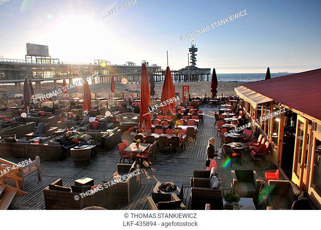 Beach promenade in the evening, Scheveningen, North sea coast, Den Haag, The Netherlands