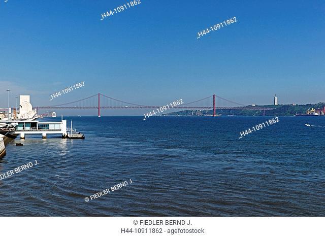 Portugal, Europe, Lisbon, Lisboa, Belem, view, Torre de Belem, 16-th century, 35 meters high, on them, Tejo, river, flow, bridge, Ponte 25 de Abril