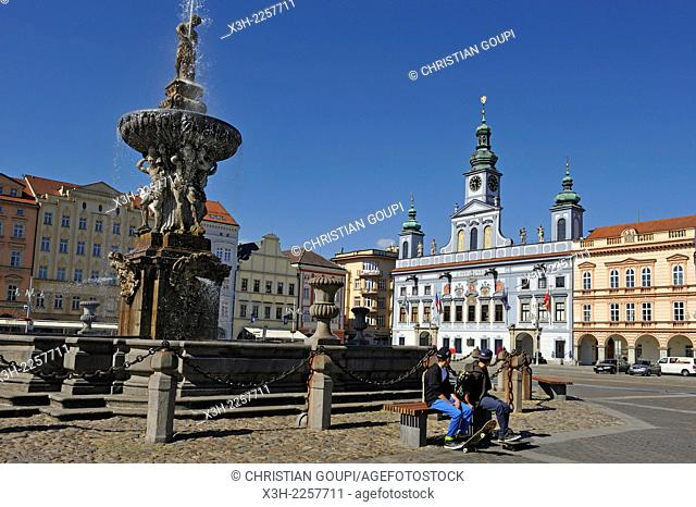 Baroque Samson fountain and the Town Hall in the background, Premysl Ottokar II Square, Ceske Budejovice, South Bohemian Region, Czech Republic, Europe
