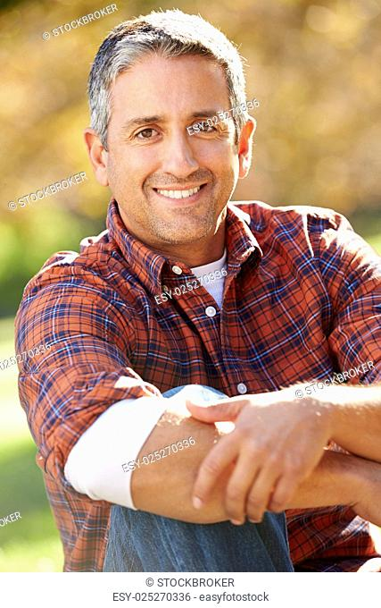 Portrait Of Hispanic Man In Countryside