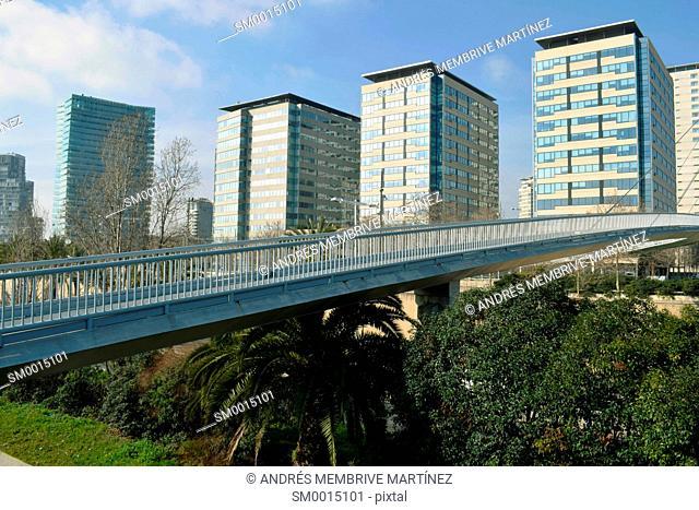 Footbridge over Ronda del Litoral, Barcelona, Spain