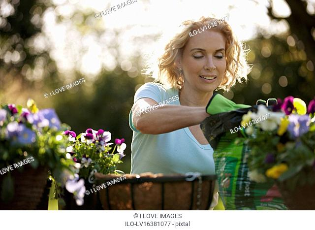A mature woman sitting at a garden bench planting hanging baskets, close up