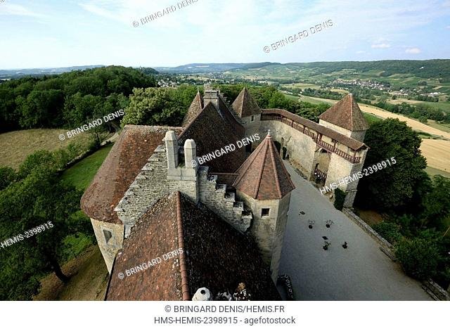 France, Jura, Le Pin, castle dated 13th century, view from the tower