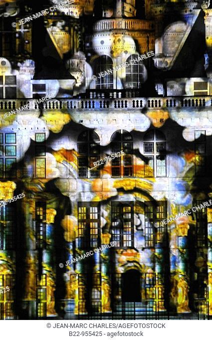 'Chambord, rêve de lumières' ('Chambord, dream of lights') light show by Skertzo, Chambord, Loir-et-Cher, Val de Loire, Centre, France
