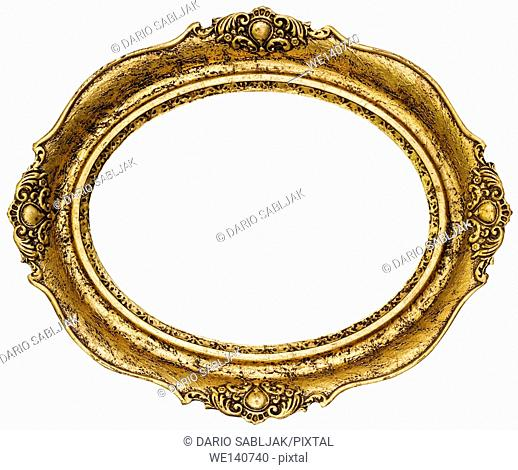 Golden Oval Picture Frame Cutout