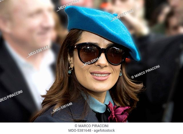 The actress Salma Hayek smiling. Milan, Italy. 12th March 2015
