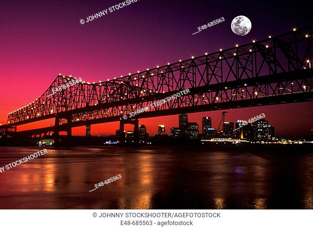 Crescent city Bridges  Mississippi river new  Orleans louisianna  USA