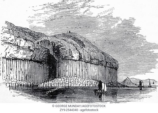 Fingal's Cave featuring the same Geological Basalt Columns as the Giant's Causeway in Northern Ireland, The Island of Staffa