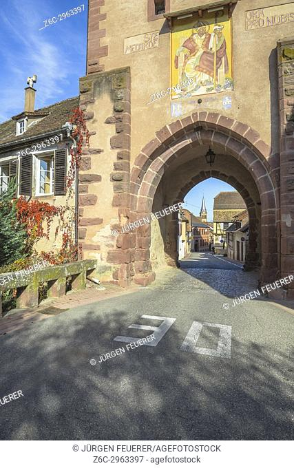 medieval town gate, upper gate of the village Boersch, on the Wine Route of Alsace, France