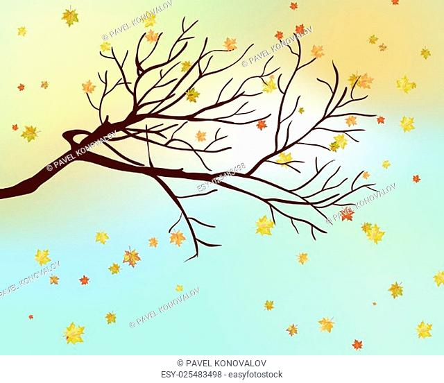 Autumn maple leaves background. Vector illustration with mesh. EPS10