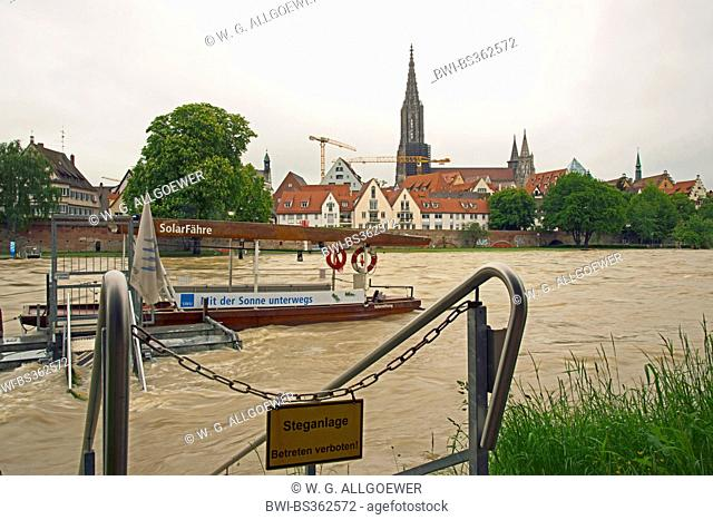 flood of river Danube in Ulm, ferry in the foregrpund, Germany, Baden-Wuerttemberg, Ulm