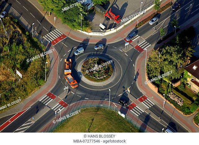 Aerial View, Unna, Roundabout, Road, Lorry, Curves, Ruhr Area, North Rhine-Westphalia, Germany, Europe