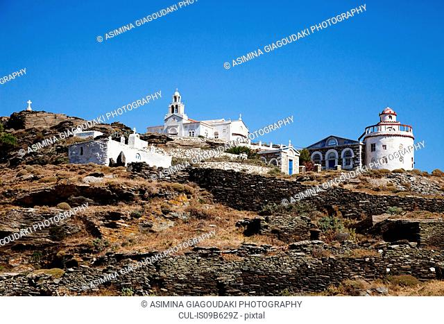 Whitewashed church on hill, Tinos Island, Greece