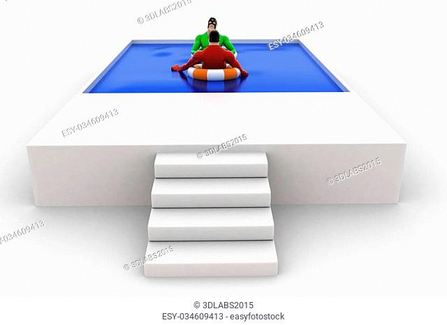 3d superhero swimming in pool with float and another superhero concept on white background, side angle view