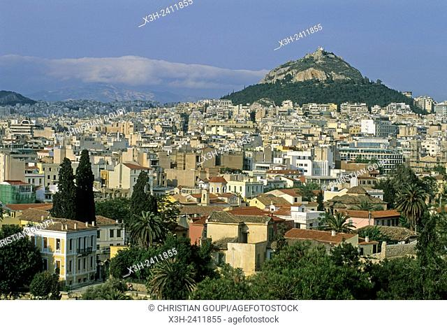 overview from Acropolis with the Mont Lycabettus in the background, Athens, Attica region, Greece, Southern Europe