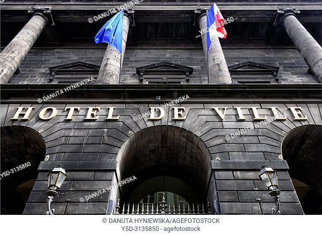 Hotel de Ville - Town Hall, historic part of Clermont-Ferrand, Puy-de-Dôme department, Auvergne, Auvergne-Rhône-Alpes region, France, Europe