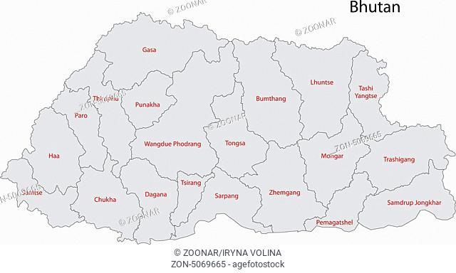 Grey Bhutan map