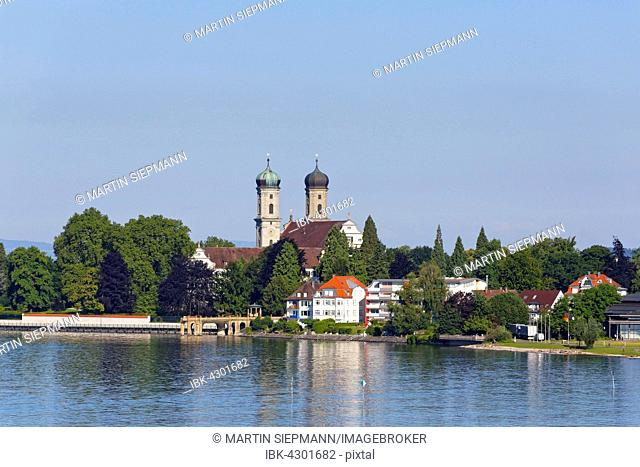 Castle church and castle, Friedrichshafen, Germany, view from Moleturm, Upper Swabia, Bodensee Region, Baden-Württemberg, Germany