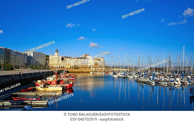 La Coruna port marina in Galicia of Spain