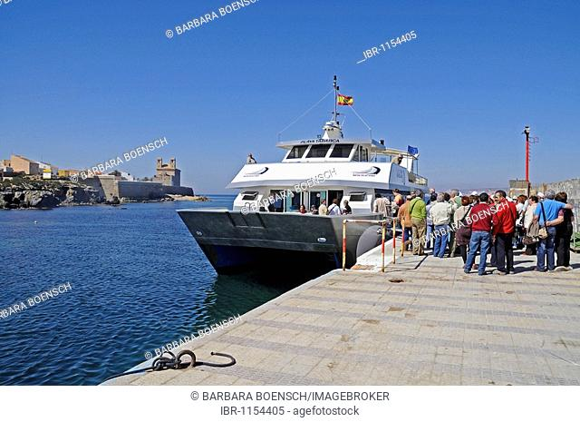 Ferry, people, port, Isla de Tabarca, Tabarca, Alicante, Costa Blanca, Spain, Europe