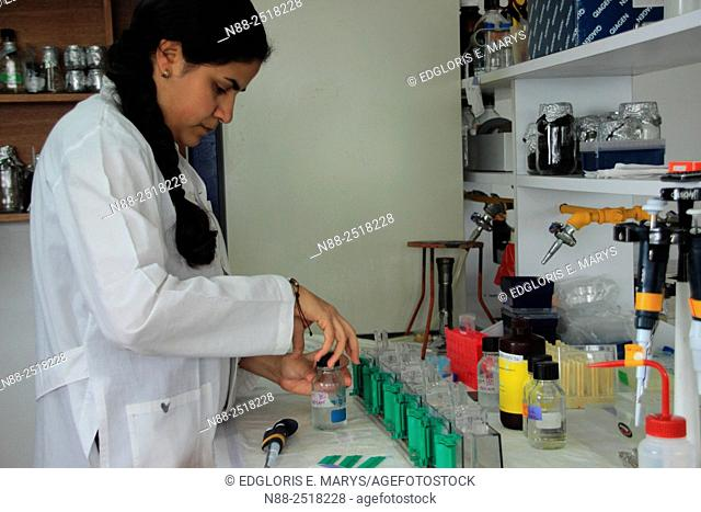 Scientist in a microbiology laboratory