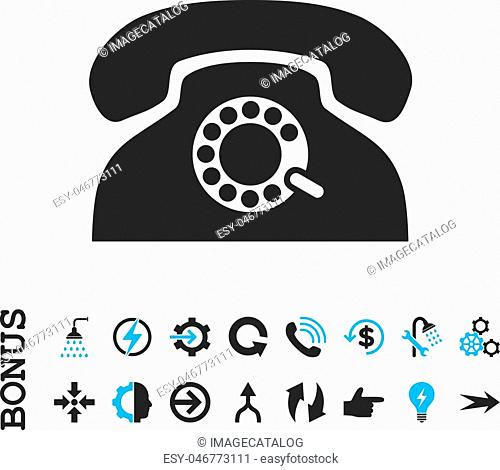 Pulse Phone vector bicolor icon. Image style is a flat iconic symbol, blue and gray colors, white background