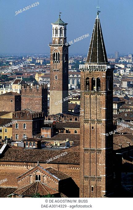 View of Verona with the bell tower of the Basilica of St Anastasia and the Lamberti tower, Verona (UNESCO World Heritage List, 2000), Veneto, Italy