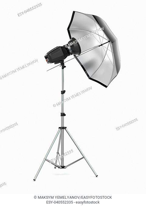 Studio strobe light flash with umbrella. 3d