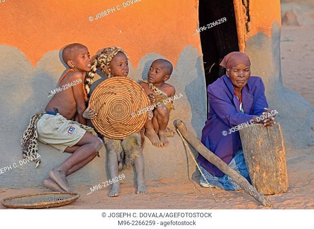 Local village children and elderly woman, Matopos, Zimbabwe, Africa