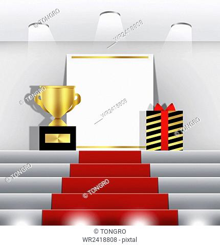 Stairs to podium with a trophy and a gift