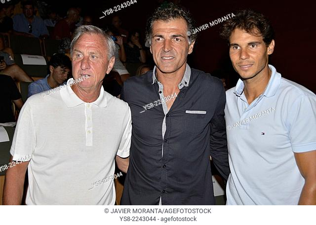 Johan Cruyff, Miguel Angel Nadal and Rafa Nadal in the presentation of the documentary The numbers 1, at the Conservatory of Music and Dance of the Balearic...