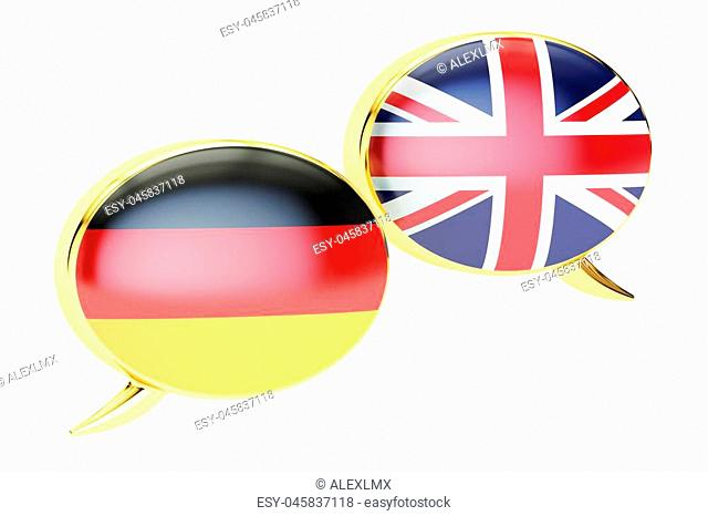 Speech bubbles, English-German conversation concept. 3D rendering isolated on white background