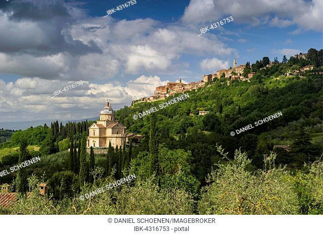 San Biagio, Montepulciano behind, Province of Siena, Tuscany, Italy
