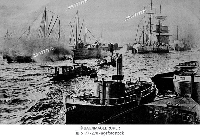 Harbor scene, Hamburg, Germany, Europe, historical photo from around 1899