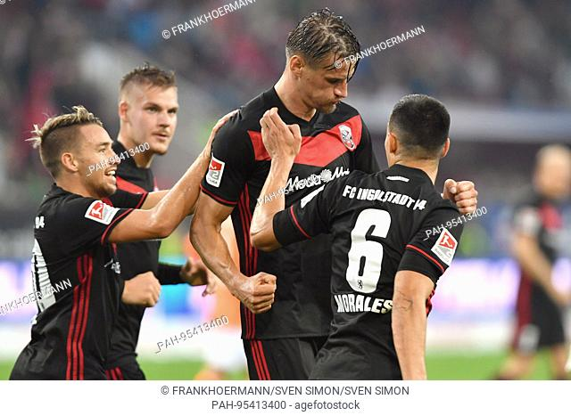 goaljubel Stefan KUTSCHKE (FC Ingolstadt,Mitte) after goal zum 1-0 with Alfredo MORALES (FC Ingolstadt,re),Max CHRISTIANSEN (FC Ingolstadt) und Thomas PLEDL (FC...
