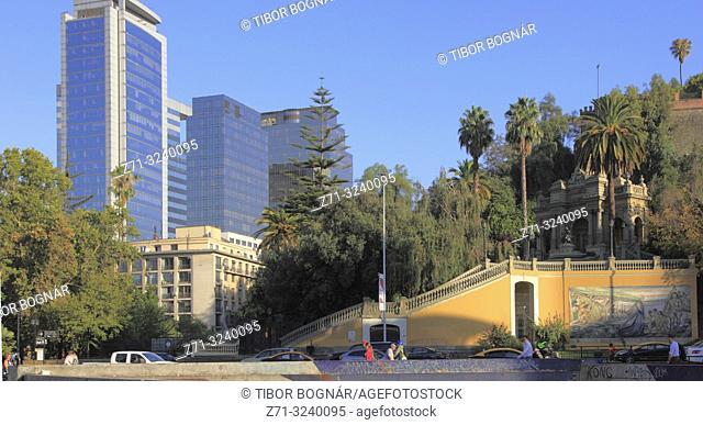 Chile, Santiago, Cerro Santa Lucia, skyline, skyscrapers,