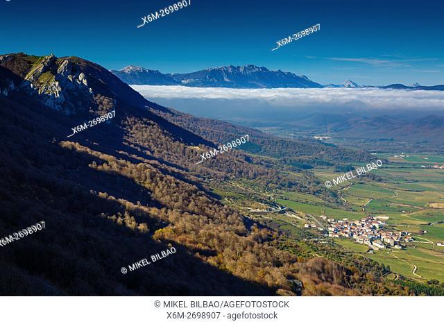 Lizarraga village and Urbasa-Andia Natural Park. Navarre, Spain, Europe