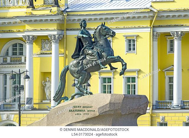 "The Bronze Horseman - statue of Peter the Great St Saint Petersburg, Russian Sankt Peterburg, formerly (1914â. ""24) Petrograd and (1924â"