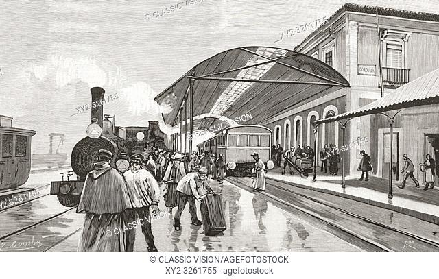 The arrival of a passenger train from Madrid at Cordoba station, Cordoba, Spain in the 19th century. From La Ilustracion Espanola y Americana, published 1892