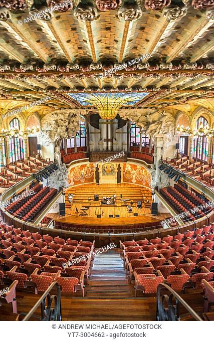 Barcelona in Catalonia, Spain. Palace of Catalan Music (Palau de la Musica Catalana)