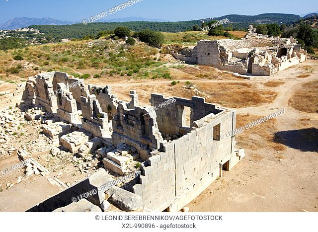 Ruins of Amphitheatre with the Bouleuterion ruins at the background  Ancient Lycian city of Patara in the South West of modern Turkey