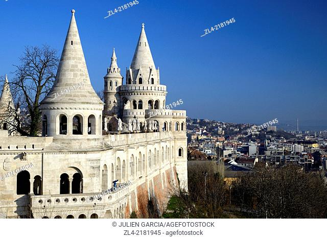 The Fisherman's Bastion (Halaszbastya), terrace in neo-Gothic and neo-Romanesque style. Hungary, Budapest, Buda, Castle Hill