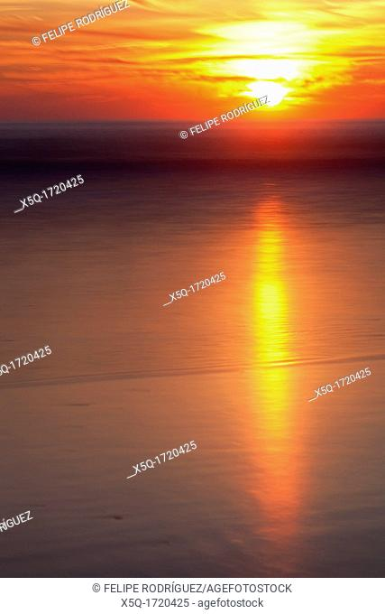 Sunset on the beach  Long exposure shot