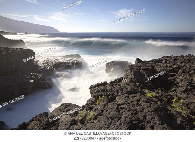 Wavy ocean in Las Puntas coast La Frontera El Hierro island Canary islands Spain