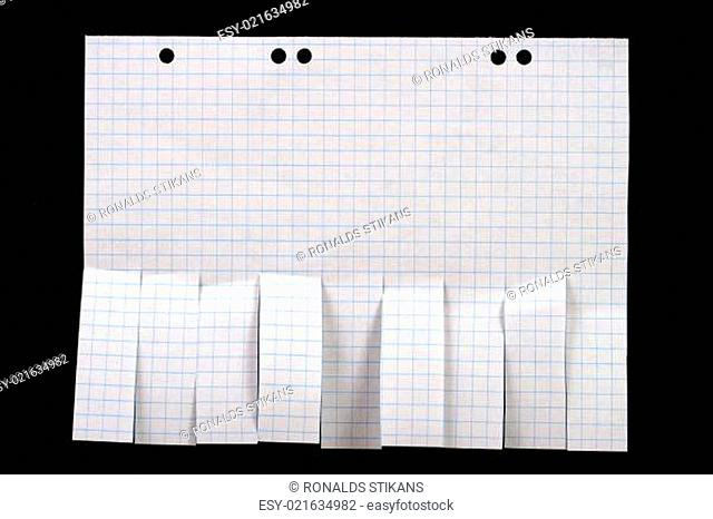 blank ad paper with cut slips